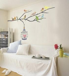 Väggdekor, Färgglada fåglar med träd
