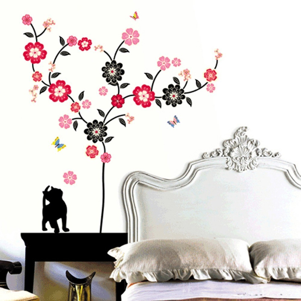 Väggdekor, Katt med blommor