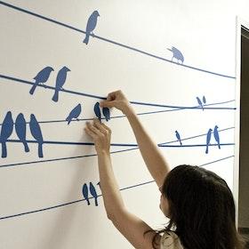 Väggis - Fåglar på tråd