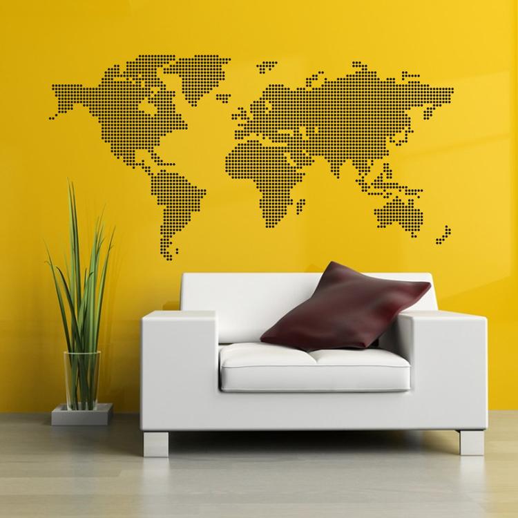 Väggdekor - Världskarta Prickar