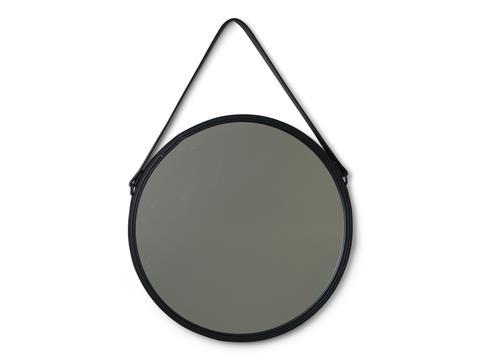 spegel med läderram