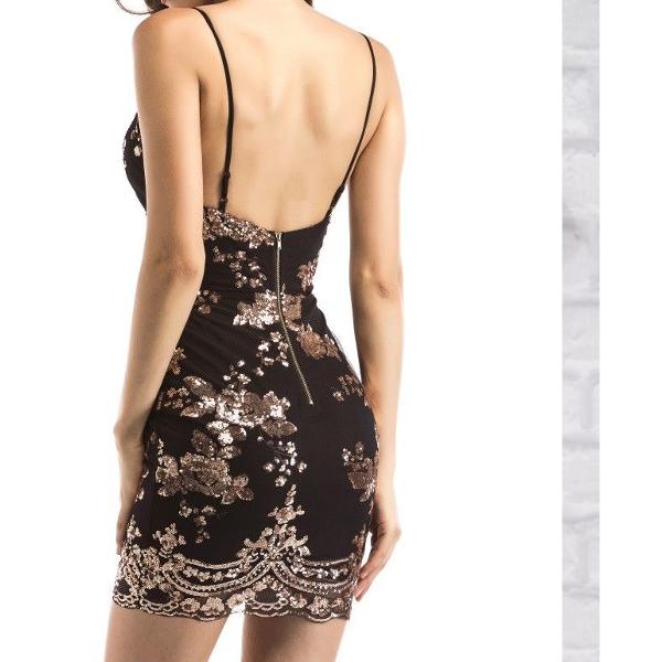 Zari Black Gold Sequin Lace Bodycon Evening Mini Party Dress Size