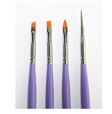 4 penslar lila UV-gel & Acryl (Pensel-set)