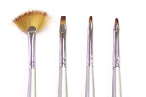 4 penslar UV-gel & Acryl (Pensel-set) silver