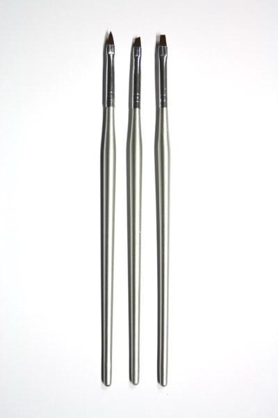 3 penslar UV-gel & Acryl (Pensel-set) silver