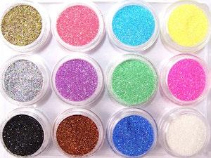 Glitter pulver  megapack 12 färger