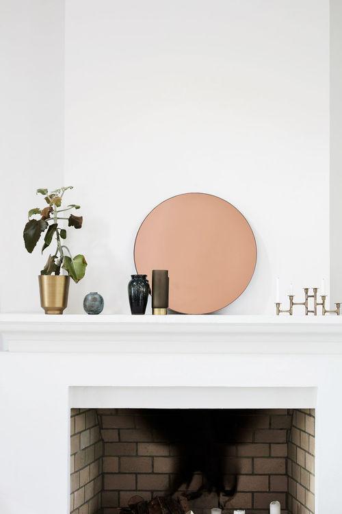 Walls spegel rund rosé 50 cm