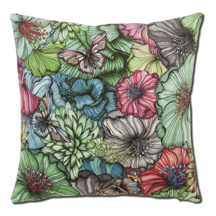 Kuddfodral Flower power, grön, kudde, Nadja Wedin