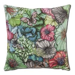 Kuddfodral Flower power, grön, Nadja Wedin design