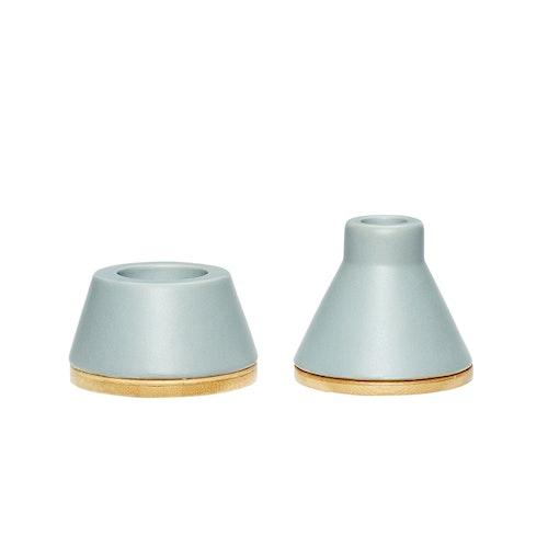 Ljusstakar i keramik och trä, set om två, Hübsch