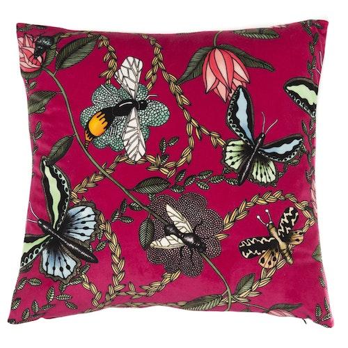 Kuddfodral Bugs & Butterflies cerise, Nadja Wedin design