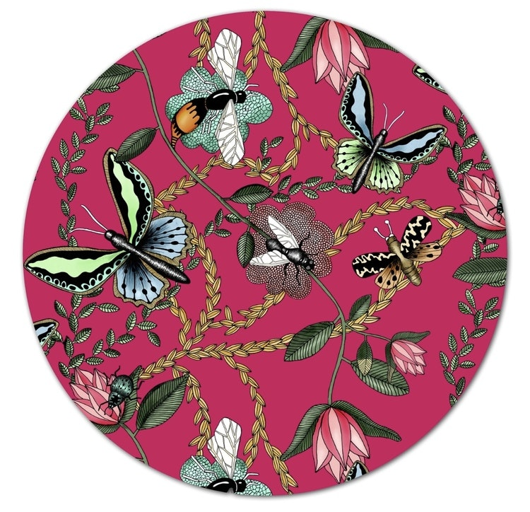 Grytunderlägg Bugs & Budgies cerise/hallon, Nadja Wedin design