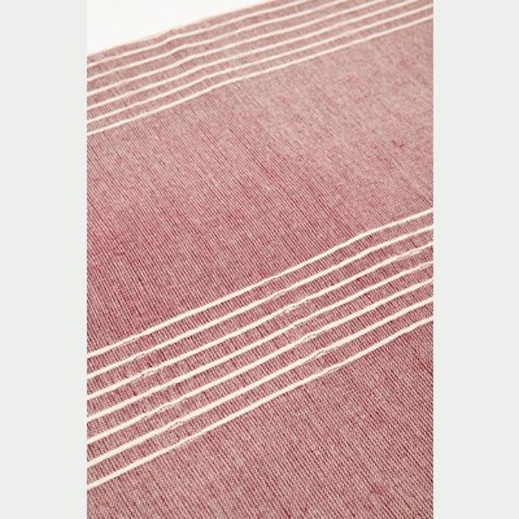 Pläd med ränder, röd/offwhite, Hübsch, bomullspläd, 140x200 cm