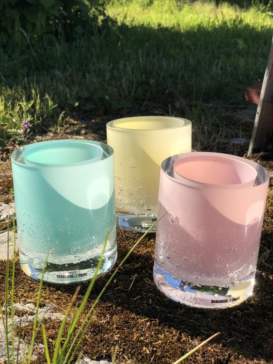 Hurricane Soda pink skogsberg smart ljuslykta glas