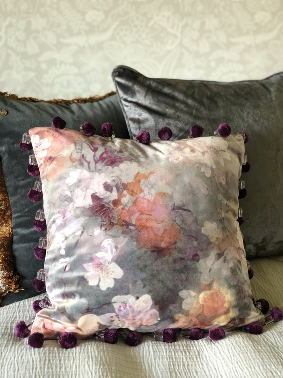 Kuddfodral Eden Deluxe, sammet, blommönster, Jakobsdals