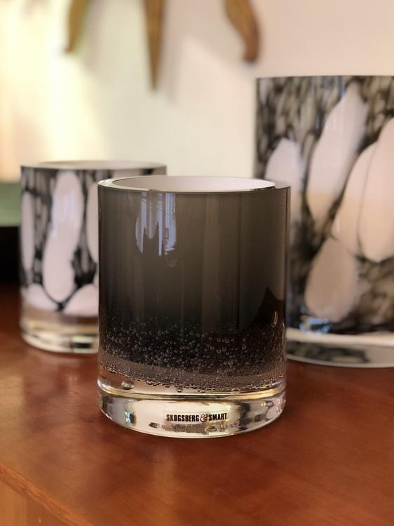 Hurricane Soda black, Skogsberg&Smart, ljuslykta, glas