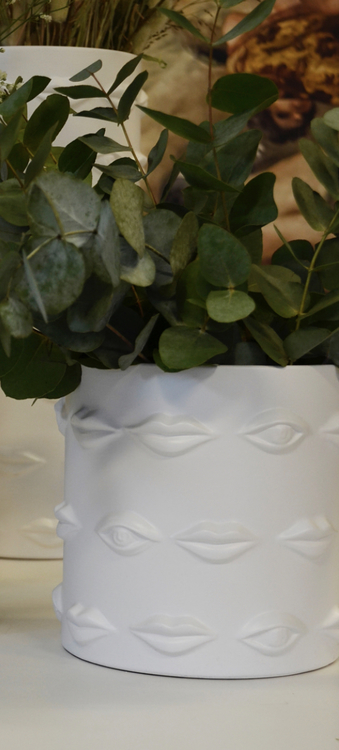 Vas/kruka Ego, keramik, 20 cm, vit,Hallbergs belysning