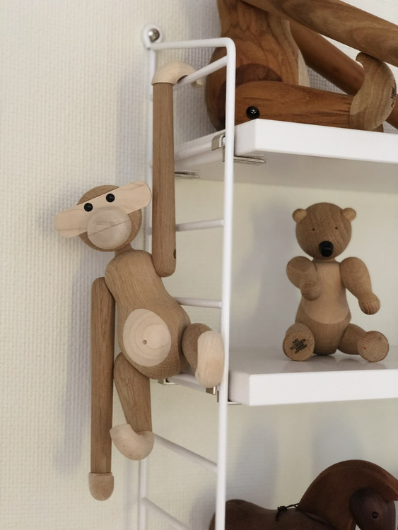 Kay Bojesen, apa liten ek/lönn, björn liten, träfigur