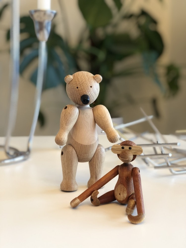 Kay Bojesen, apa mini teak/limba, träfigur, björn liten