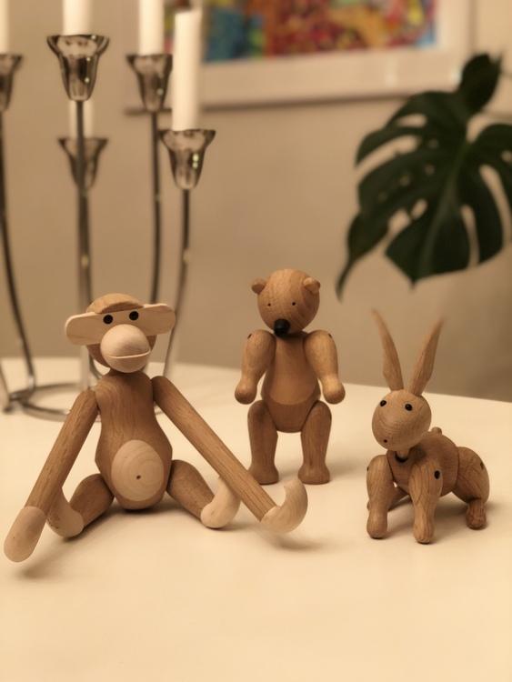 Kay Bojesen, apa liten ek/lönn, björn liten, kanin, träfigur