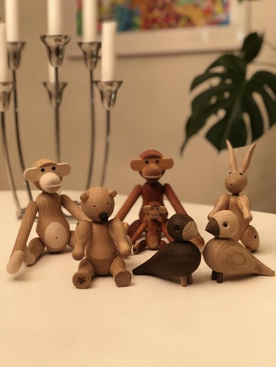 Kay Bojesen, apa liten teak/limba, träfigur, apa mini teak/limba, apa liten ek/lönn, björn liten, kanin, turturduvor