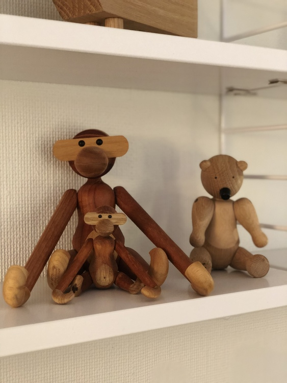 Kay Bojesen, björn liten, apa liten, apa mini, teak/limba