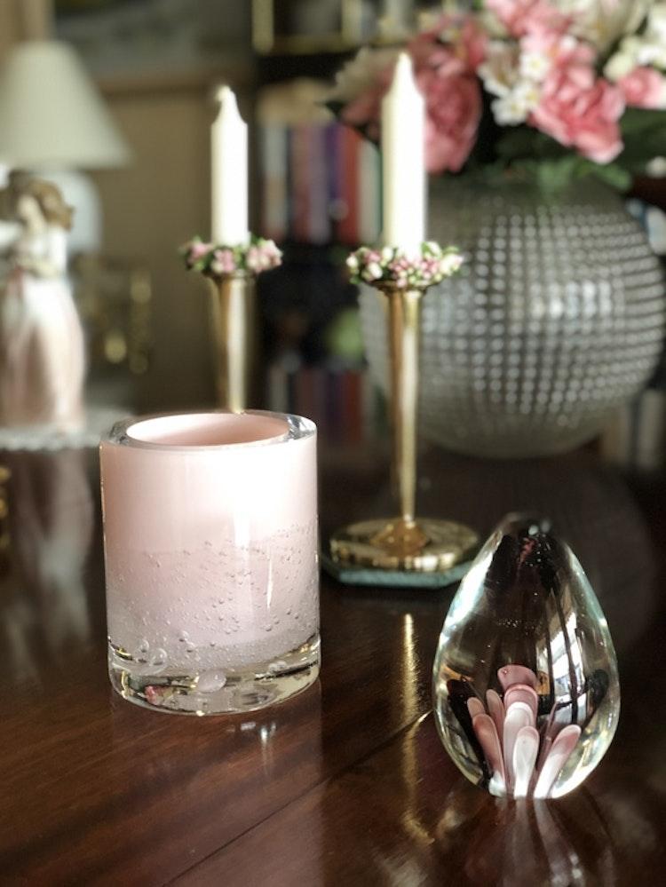 Hurricane Soda pink skogsberg smart ljuslykta glas, rosa, brevpress, Hübsch