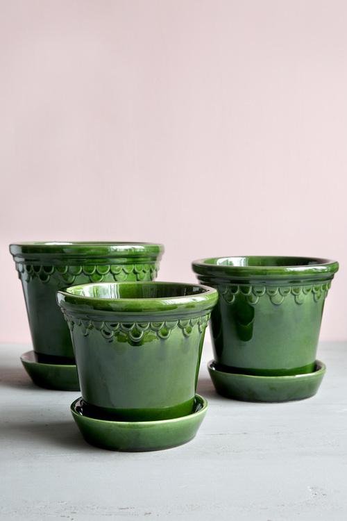 Kruka Københavner med fat, Bergs Potter, 18 cm, grön , glaserad