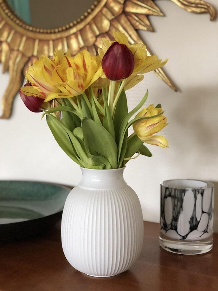 Vas Curve, Lyngby porcelæn, vit 17,5 cm