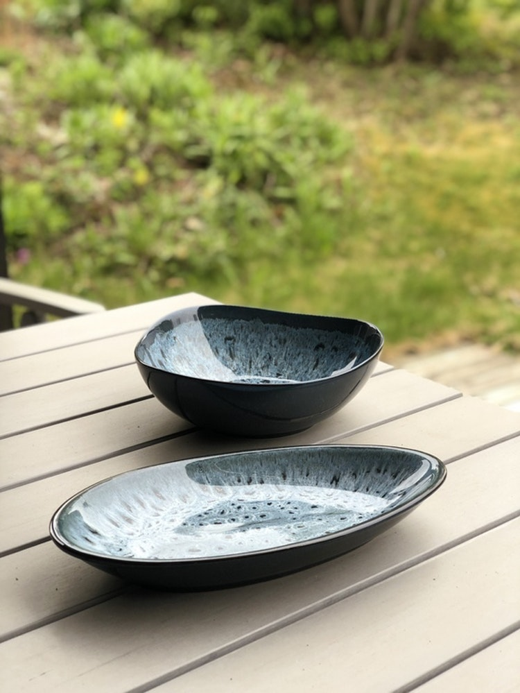 Fat Tavaha, A Simple Mess, 31 cm, blågrå glasyr