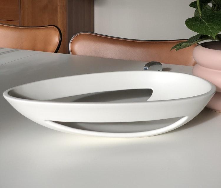 Fat Kokong oval bord, vit, design Bernadotte & Kylberg, Kähler