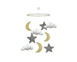 Mobil, moln/månar/stjärnor, mixfärgad, Gamcha