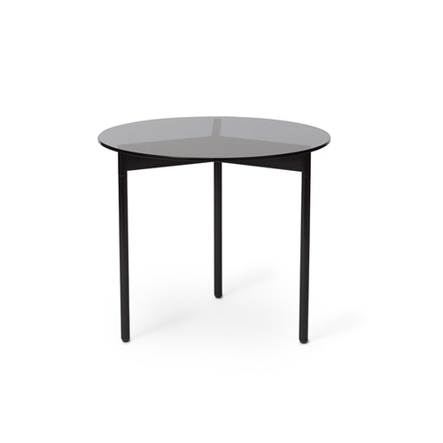 Soffbord From Above, Ø52, grått glas/svart stål, Warm Nordic