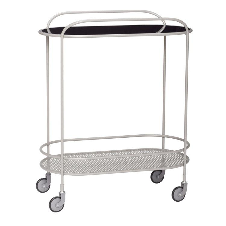 Serveringsvagn glas/metall, grå, Hübsch
