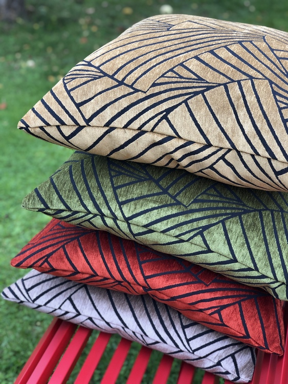 Kuddfodral Victorious, green, red, gold, sand, 60x60 cm, Jakobsdals textil