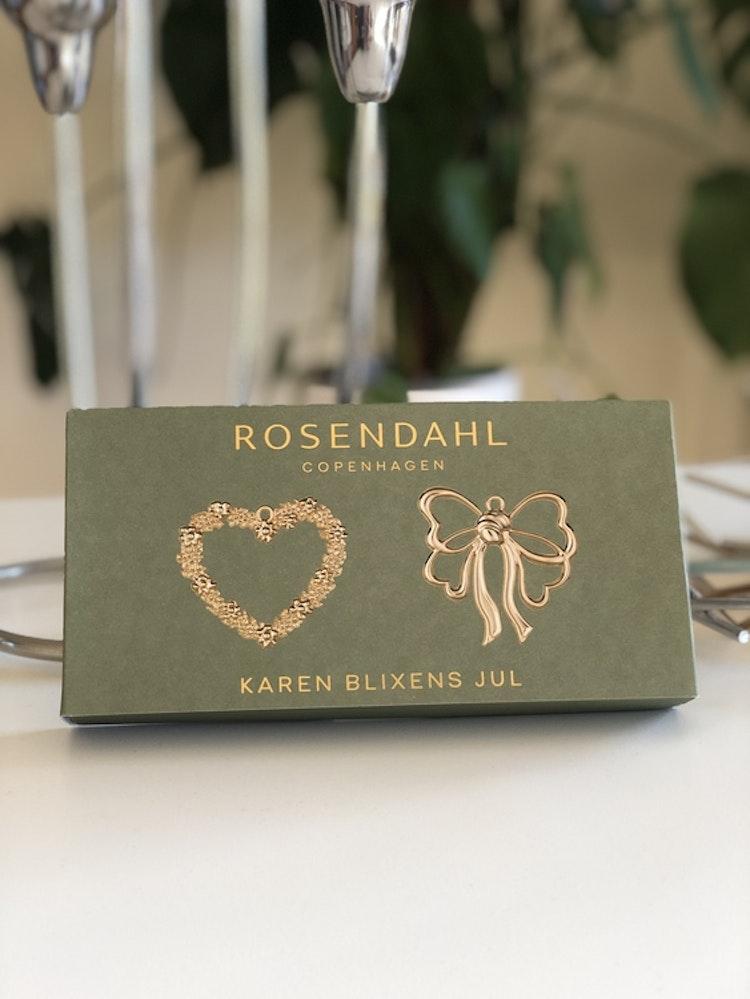 Blomsterhjärta och rosett, 2-pack, förgylld, Rosendahl, Karen Blixen