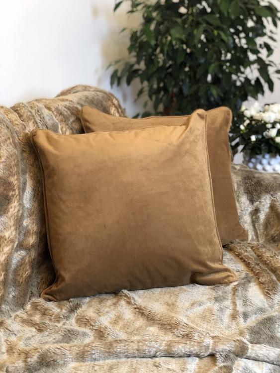 Kuddfodral Velvet, konjak, sammet