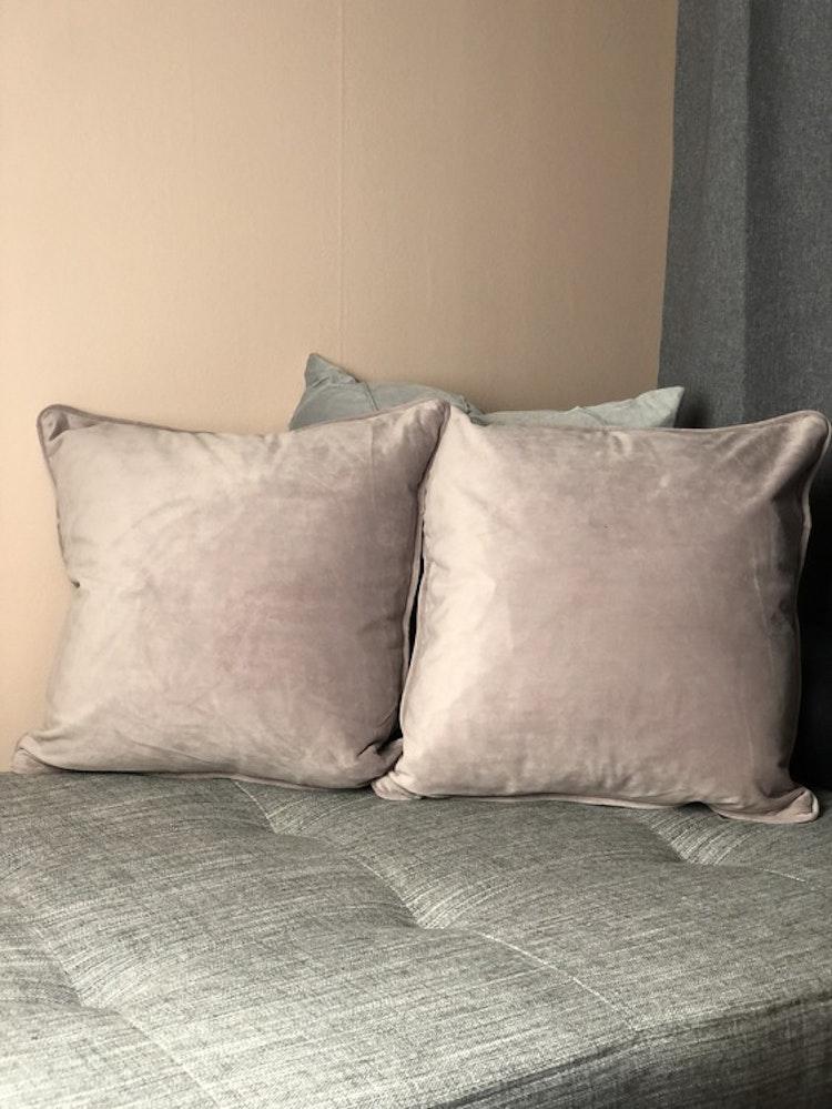 Kuddfodral Velvet, ljusrosa, sammet