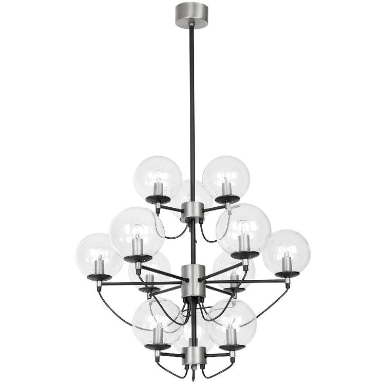 Taklampa Perla 12 Glas/silver/svart av Åsa Ingrosso, Hallbergs belysning