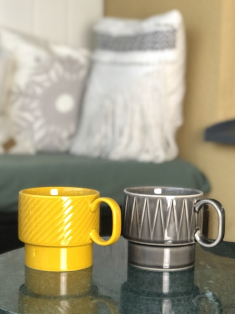 Temugg, Coffee & More, grå, gul, Sagaform