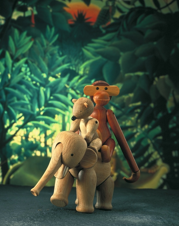 Kay Bojesen, elefant liten, ek, träfigur, apa mini teak/limba, björn liten