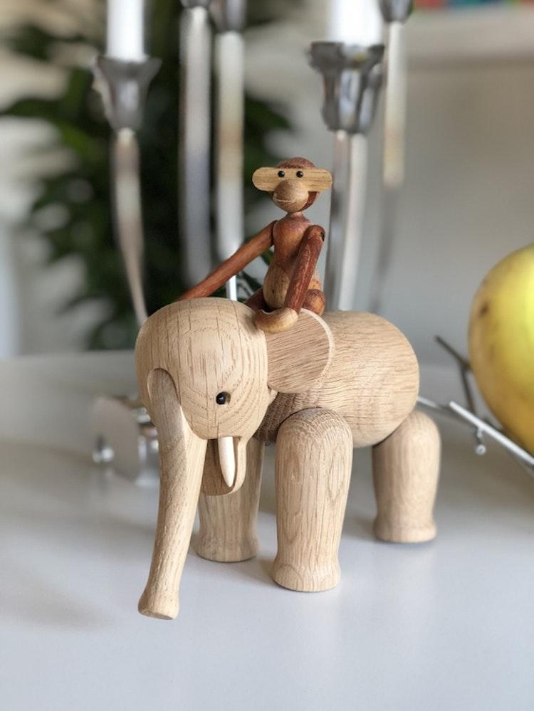 Kay Bojesen, elefant liten, ek, träfigur, apa mini