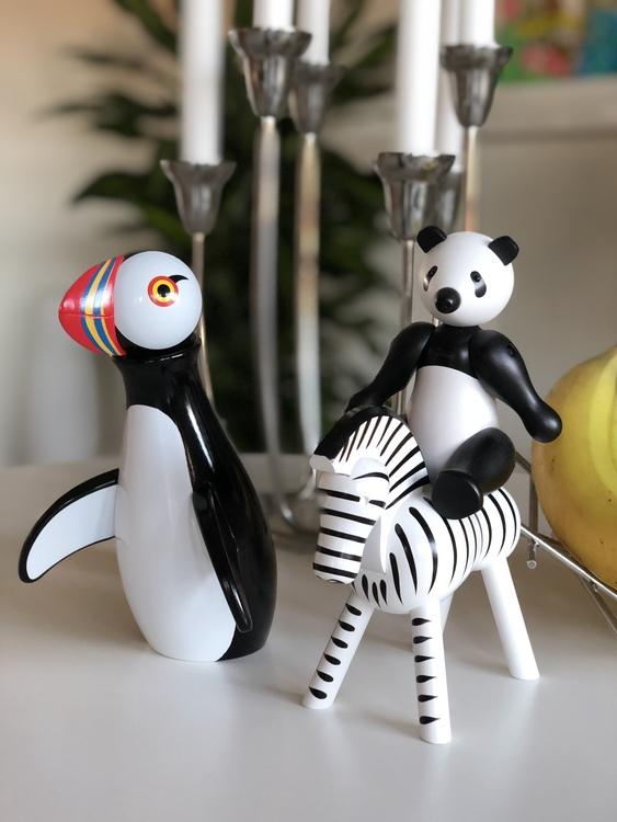 Kay Bojesen, panda liten, träfigur, zebra, lunnefågel