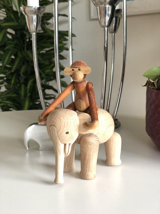 Kay Bojesen, elefant mini, ek, träfigur, apa mini teak/limba