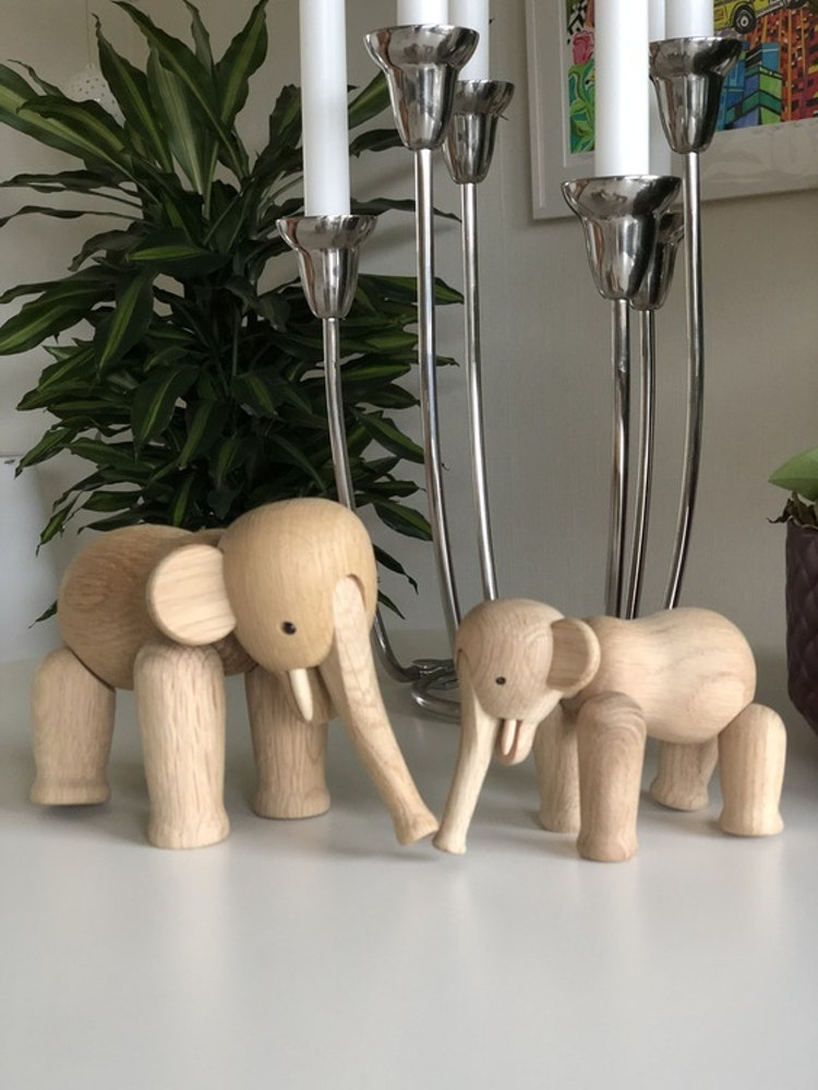 Kay Bojesen, elefant mini, ek, träfigur, elefant liten