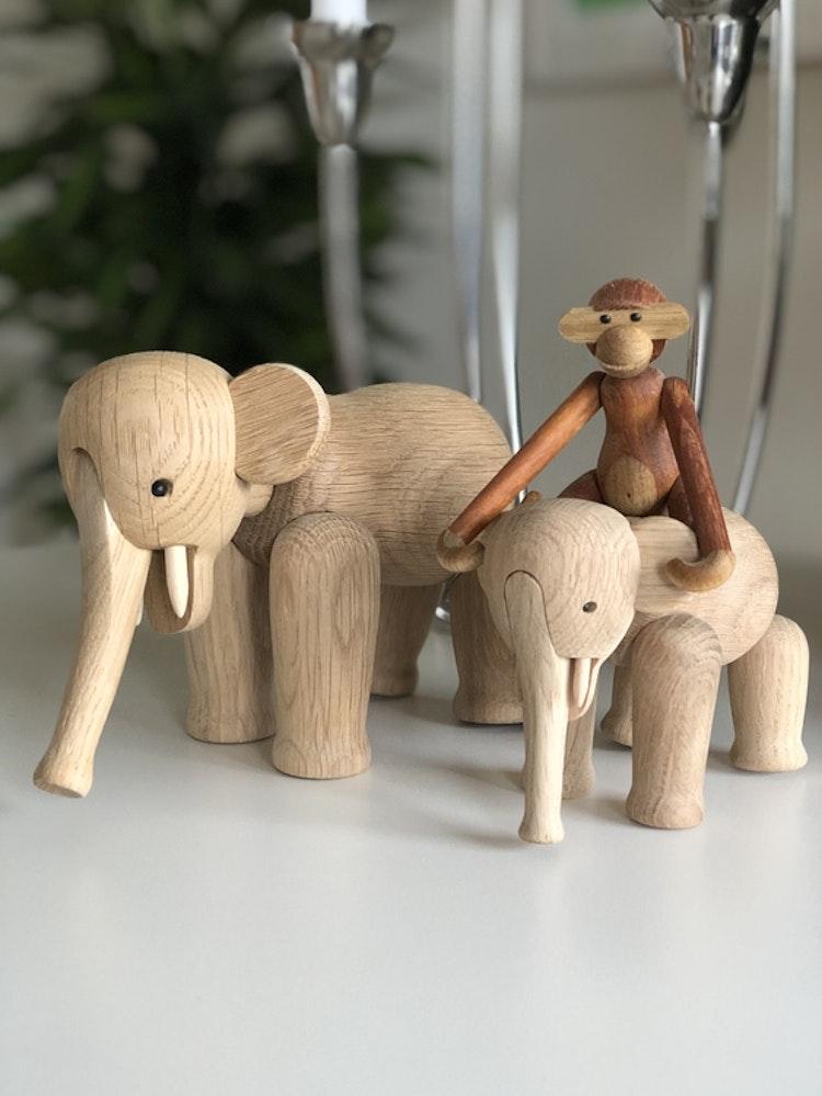 Kay Bojesen, elefant liten, ek, träfigur, elefant mini, apa mini teak/limba