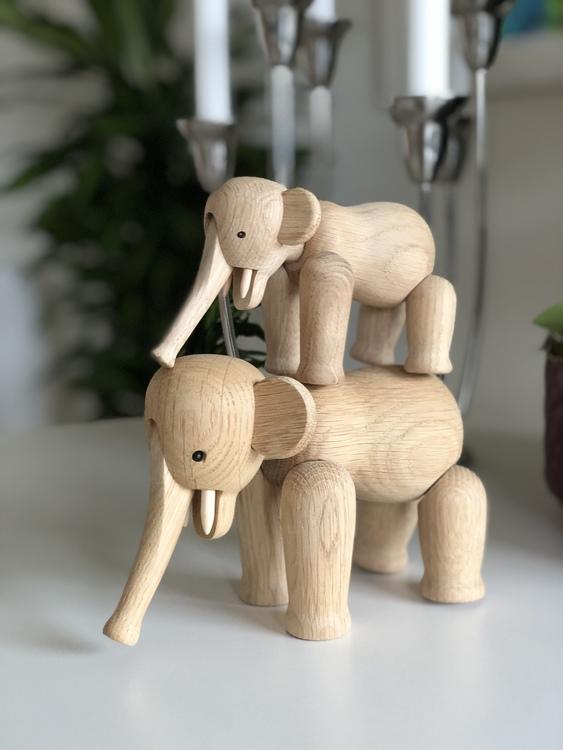 Kay Bojesen, elefant liten, ek, träfigur, elefant mini