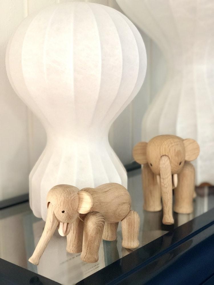Kay Bojesen, elefant liten, ek, träfigur, elefant mini, Flos Gatto piccolo, Flos Gatto grande