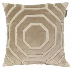 Kuddfodral Time, linne/sammet, ljus beige/grå,  T. Herman