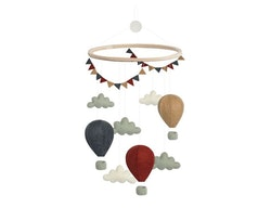 Mobil, luftballonger med moln och vimpel, röd/blå, Gamcha